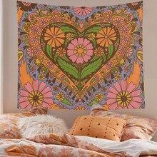 Tapisserie murale Vintage à fleurs suspendues, décoration murale rétro des années 80, pour chambre à coucher, salle de séjour, cœur Floral des années 90