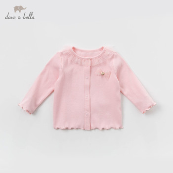 DBH13054 dave bella spring baby girl coat solid children fashion outerwear kids dark pink cute coat image