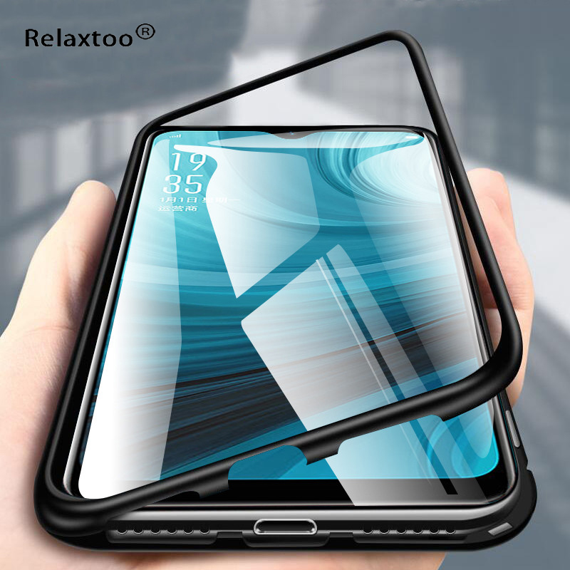 Relaxtoo 360 Magnetic Filp <font><b>Phone</b></font> Case Shockproof for <font><b>Oppo</b></font> F7 <font><b>Realme</b></font> <font><b>3</b></font> 5 Pro Tempered Glass <font><b>Phone</b></font> Protector Cover Transparent image