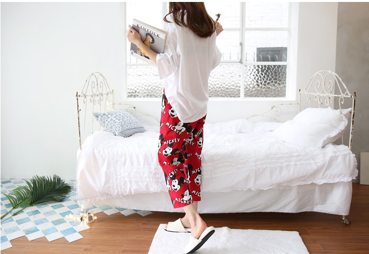 2019 Fashion Lovely Leisure Two Piece Set Mickey Printing Indoor Clothing Home Suit Sleepwear Winter Pajamas Woman Pijama Mujer 40