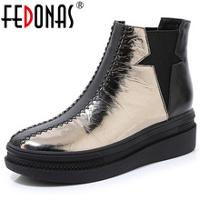FEDONAS الخريف الشتاء العلامة التجارية جلد طبيعي النساء حذاء من الجلد الدافئة منصة أحذية بوت قصيرة أحذية رياضية غير رسمية امرأة تشيلسي الأحذية