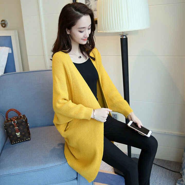 Moda kadın triko hırka ceket Baggy örme uzun kollu kazak Jumper üstleri
