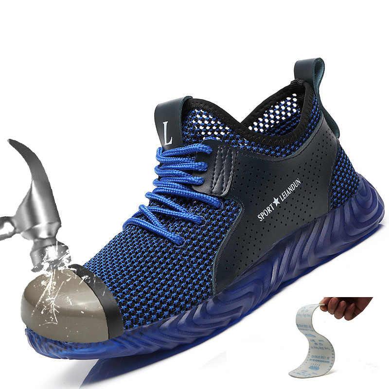 Erkek güvenlik botları nefes örgü yumuşak rahat sığır tendon alt ayakkabı adam çelik burun çalışması Anti-Smashing delinme ayakkabı