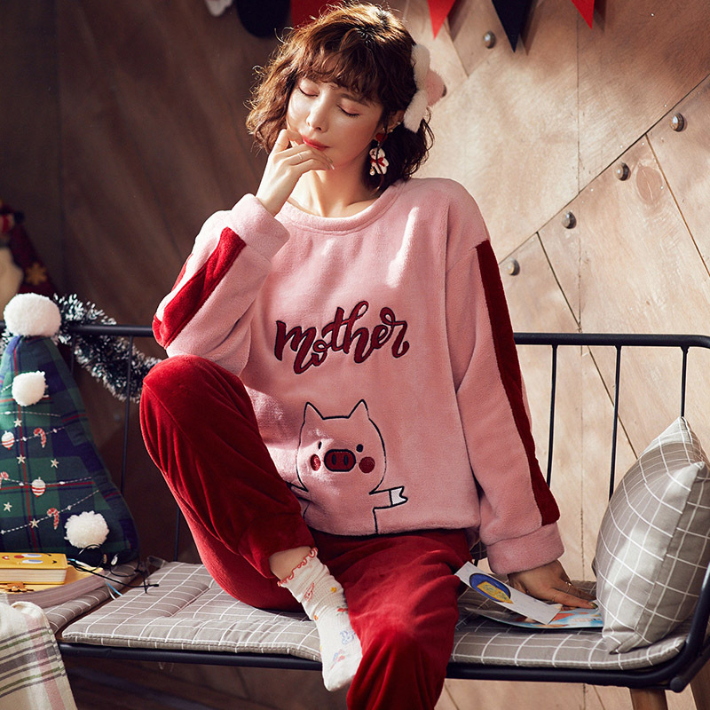 High Quality Women Pajama Sets Winter Soft Thicken Cute Cartoon Flannel Sleepwear 2 pcs/Set Tops + Warm Pants Home Clothes Mujer 30
