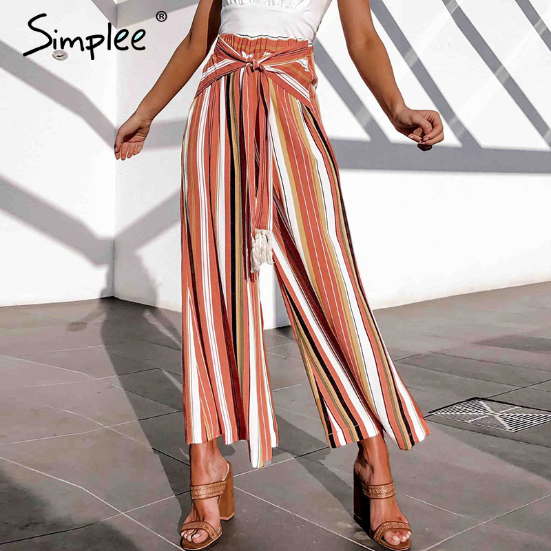 Simplee Split Striped Lady Wide Leg Pants Women Summer Beach High Waist Trousers Chic Streetwear Sash Casual Pants Tassle Female