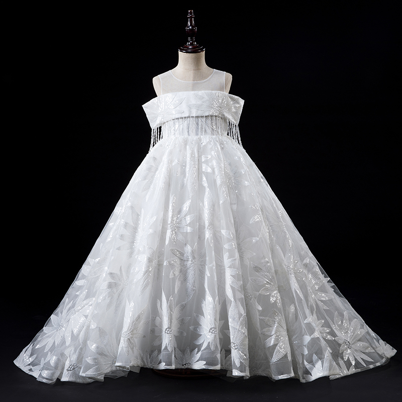 flower     girl     dresses   for wedding white long communion   dresses   for   girls