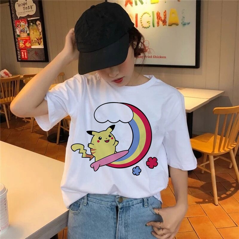 ladies-summer-casual-short-sleeves-harajuku-funny-font-b-pokemon-b-font-snorlax-togepi-squirtle-japanese-t-shirt-anime-pikachu-clothes
