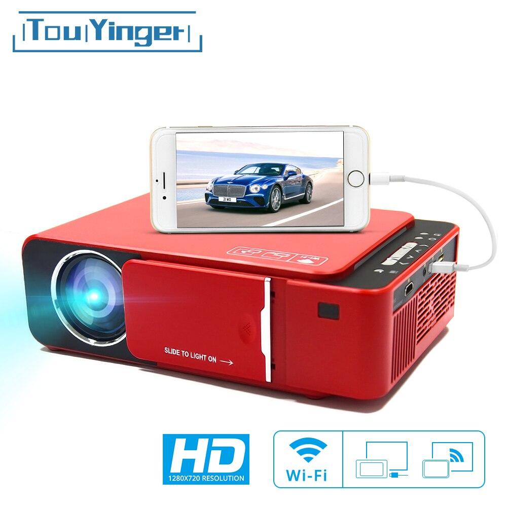 Touyinger t6 led projetor de vídeo hd 720 p portátil hdmi opção android wifi beamer suporte 4 k completo hd 1080p cinema em casa