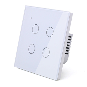 Image 4 - WIFI Touch Light Wall Switch White Glass Blue LED Universal Smart Home Phone Control 4 Gang 2 Way Round relay Alexa Google Home