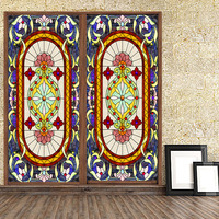 Custom Size European style Colorful church window fim Static Cling stained glass window film frosted doors foil vidrie 60x150cm