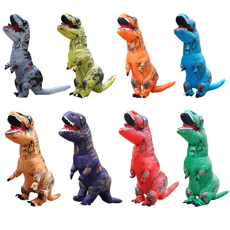Adult Kids Blow Up Dinosaur Inflatable Costumes T-Rex Christmas Disfraz Carnival Party Role Play Halloween Costume For Kids