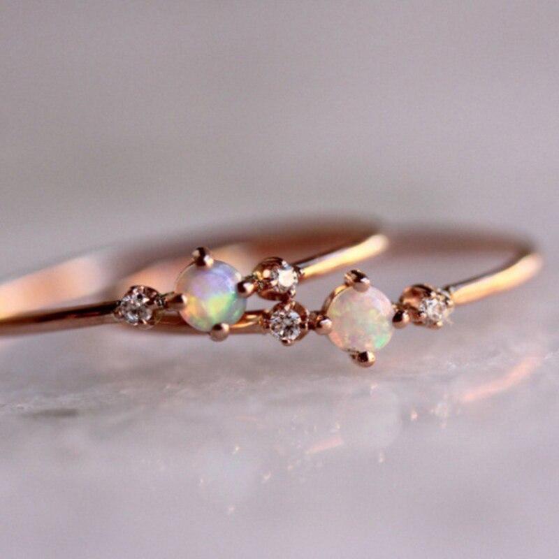 De moda de las mujeres de oro rosa anillos de ópalo de estilo Simple anillo de dedo de cristal fina aros mano bandas anillo tamaño 5 - 10