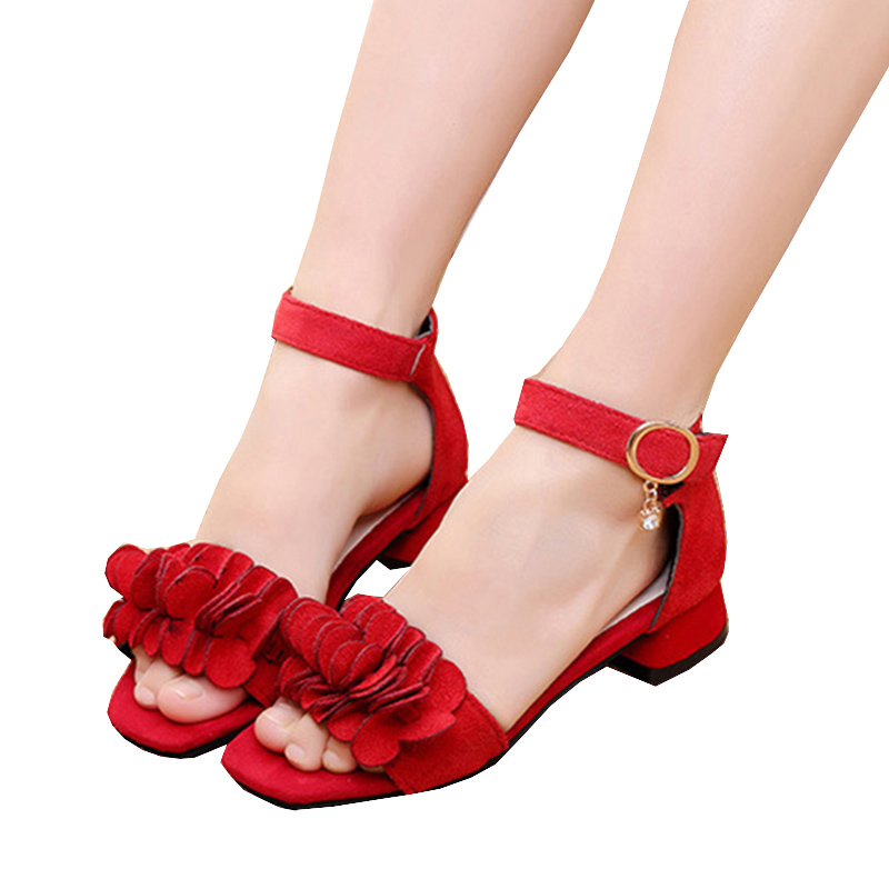 2020 Teens Flowers Kids Princess Shoes For big Girls Sandals Student sandals for Wedding And Party Dance chaussure fille 4T-16T