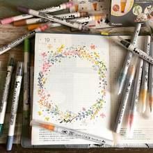 JIANWU – stylo marqueur étanche à double tête, 4/12 couleurs, Kuretake japonais, points ronds, fournitures de peinture