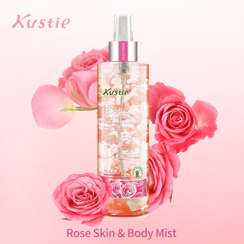 Kustie Rose Face And Body Mist Hydrating Spray Flower Essence Safe White And Moisturizing Spray Natural Fragrance Body Skin Care