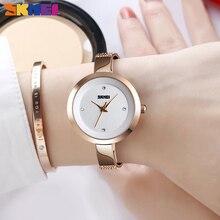 SKMEI יוקרה קוורץ גבירותיי שעון דק רצועת אופנה נשים שעון מזדמן נירוסטה נקבה Wristwatcch Relogio Feminino 1390