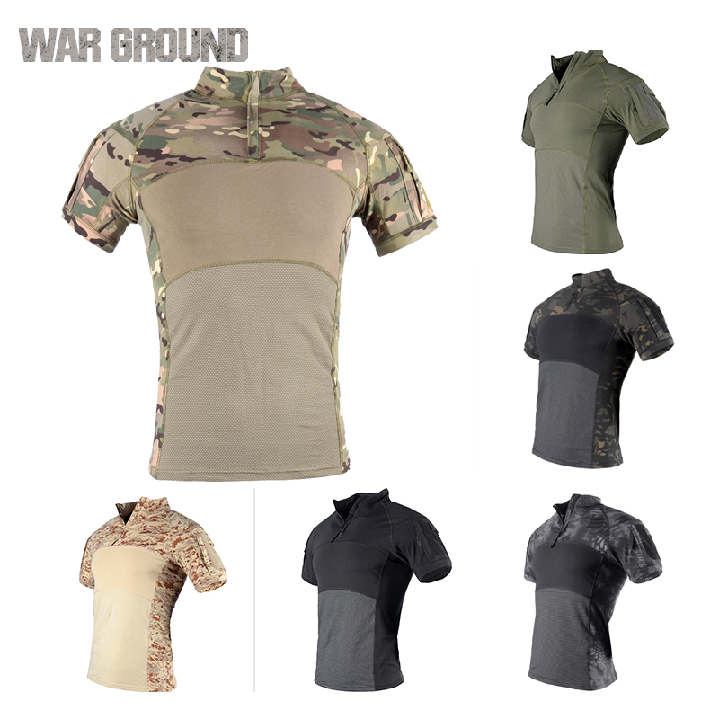 Assault tactical T-shirt military uniform mens shirt outdoor camping hunting fishing camouflage