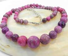 "new 6-14MM PINK CRAZY LACE AGATE AGATE ROUND BEADS NECKLACE 18""(China)"