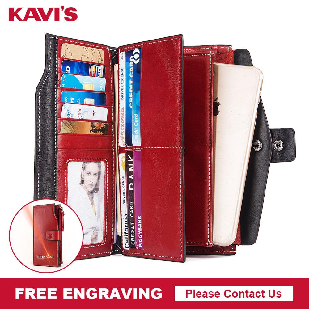 Free Engraving 100% Genuine Leather Women Wallet And Female Clutch Coin Purse Portomonee Phone Bag Card Holder Handy Quality