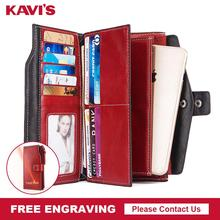 Ücretsiz gravür 100% hakiki deri kadın cüzdan ve kadın debriyaj bozuk para cüzdanı Portomonee telefonu çantası kart tutucu Handy kalite