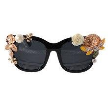 Baroque Bee Sunglasses Rose Gold Metal 90s Vintage Women Retro Fashion Flower Luxury Designer 2019 Pearl Sun Glasses