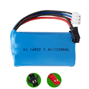 7.4V 1200mAh 14500 Li-ion Battery For Remote Control toys Cars Tanks Robots Electric Water Gun Spare Parts 2S 7.4 V lipo Battery image