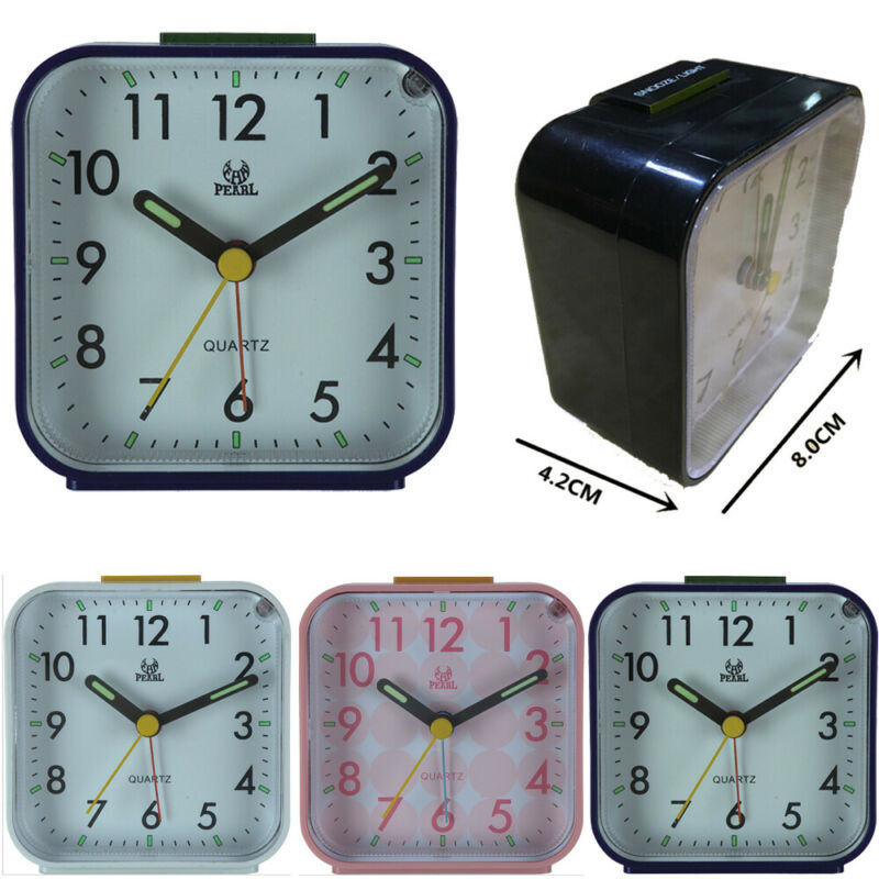 Easy To Read Alarm Clock Bedside Travel In The Dark Silent Analogue Snooze Clock
