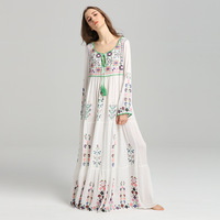 2020 New Vintage Embroidered Flower Dress Star Celebrity Inspired Drawstring Lace up Travel Holiday Dress