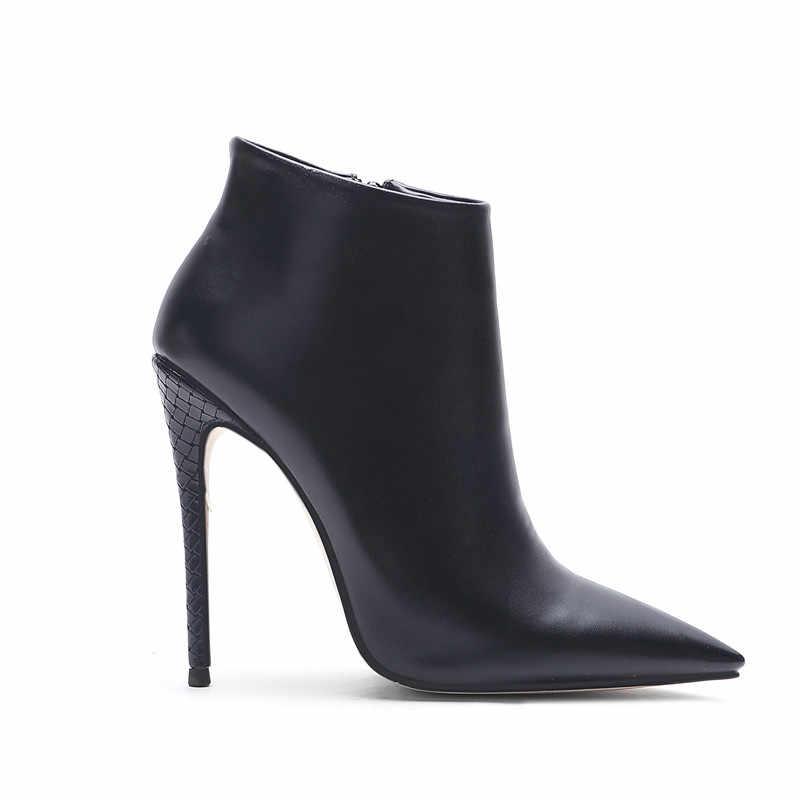 MORAZORA 2020 büyük boy 45 kadın yarım çizmeler düz renk zarif ince yüksek topuklu parti düğün ayakkabı sonbahar kış çizmeler kadın