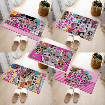 LOL Surprise Dolls Flannel Carpet Cartoon Anime Figures Pattern Girl Room Decoration Floor Bathroom Non-slip Carpet Door Mat symmetrical pattern door mat