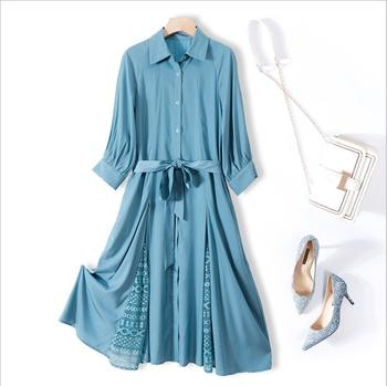 Elegant Party Dress Long Sleeve Casual Dress 2020 new solid color dress female fashion lace stitching Lace up Midi Dress фото