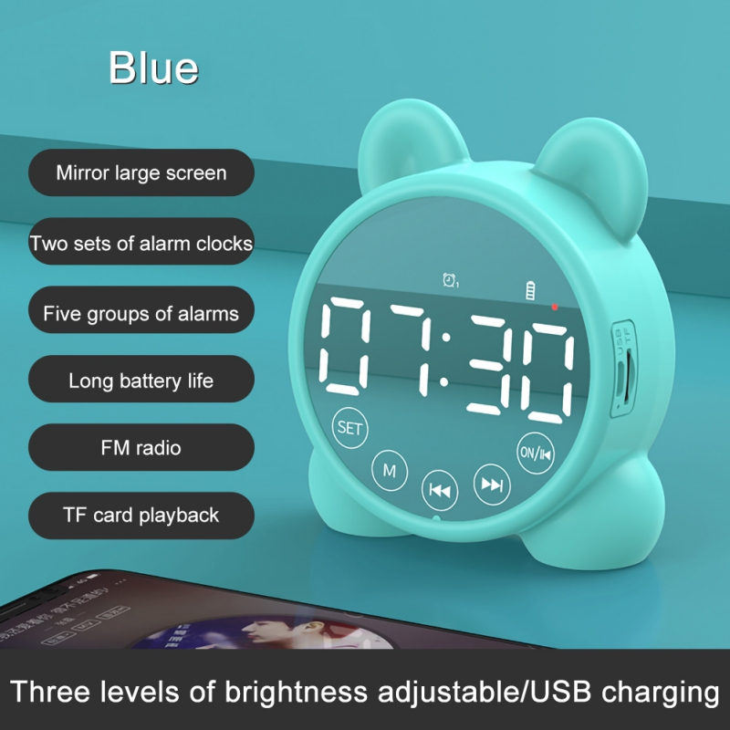 Dropshipping DIY Clock Mirror Bluetooth Speaker 5.0 Support TF Cassette FM Radio Bedroom USB Alarm Clock  LED Time Display