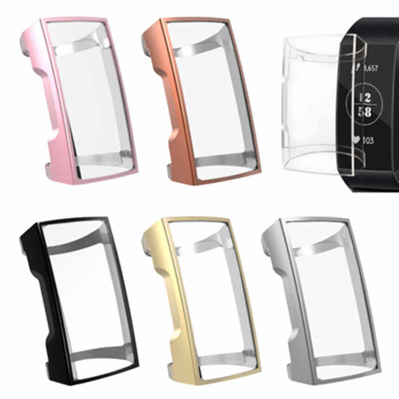 1pc Nieuwe Soft TPU Case Siliconen Beschermende Clear Case Cover Shell voor Fitbit Lading 3 Band Smart Horloge Scherm protector