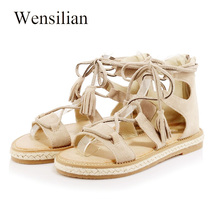 Summer Gladiator Sandals Women Lace-up Shoes