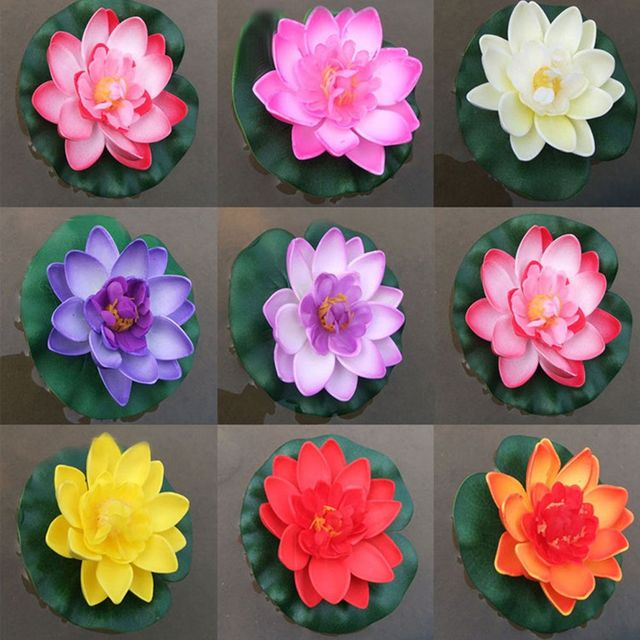 3 Pcs Floating Lotus Mixed Color Artificial Flower Lifelike Water Lily Micro Landscape for Wedding Pond Garden Fake Plants Decor 2