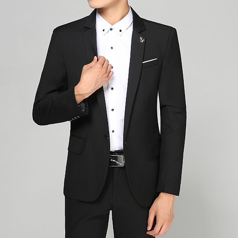2020 Casual Suit Jacket Youth Business Slim Fit Small Suit Wedding-Suit