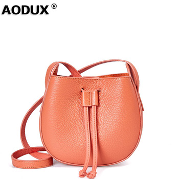 Aodux Young Girls 100% Genuine Cow Leather Classic Small Women Bucket Ladies Female Handbags Messenger Shoulder Bag Hobo Purse