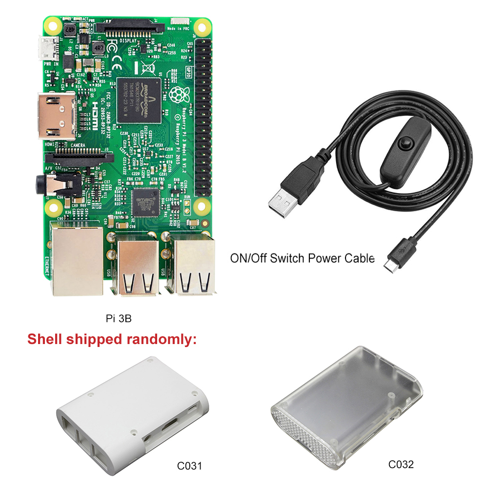 Wholesale New Version Raspberry Pi 3 Model B Case Kit Include ABS  Raspberry Pi 3 Case+ USB Power Charging Cable+1M HDMI Cables