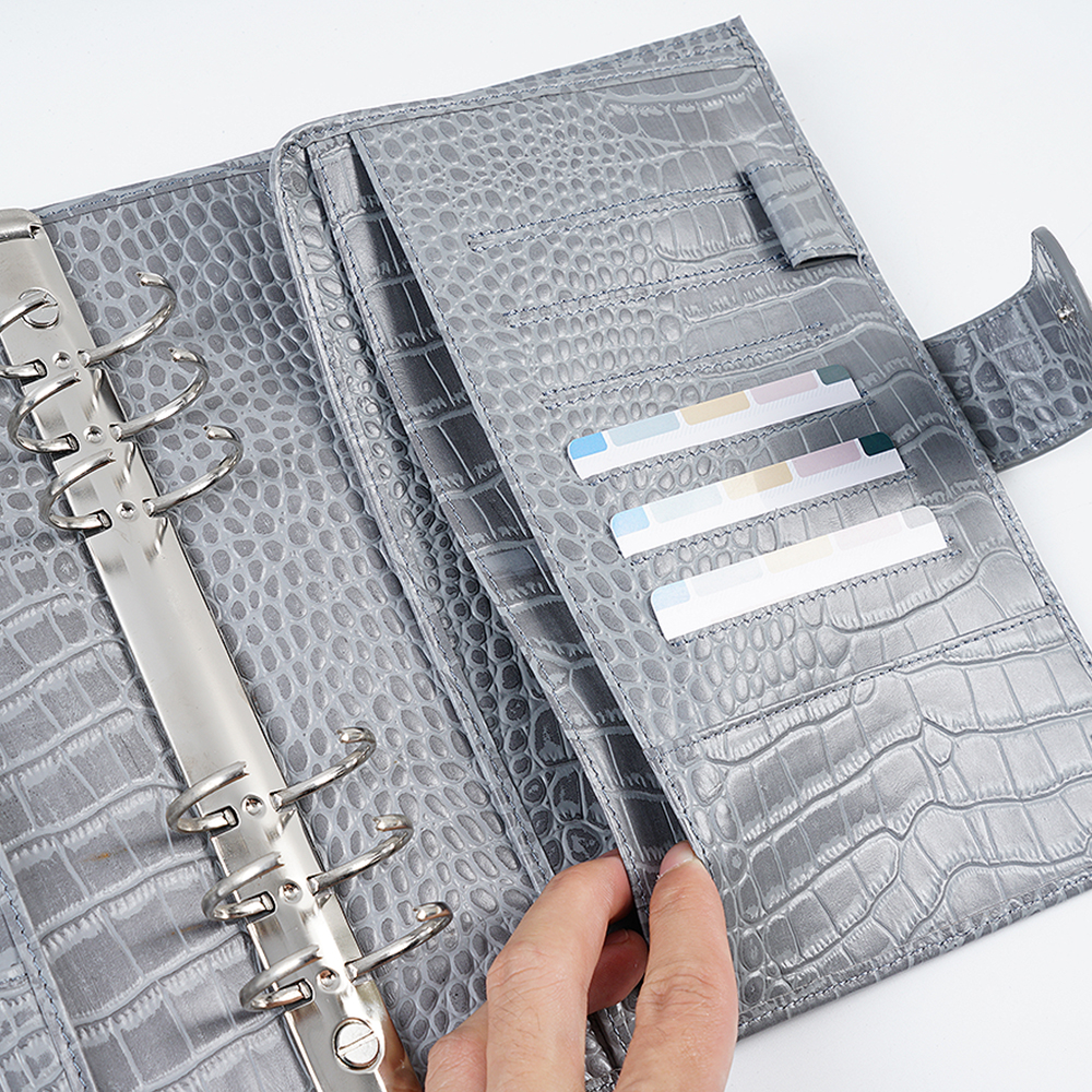 Moterm Luxe A5 Rings Planner with 30 mm Rings Binder Agenda Floppy Version Croc Grain Organizer Diary Journal Notepad Sketchbook 4