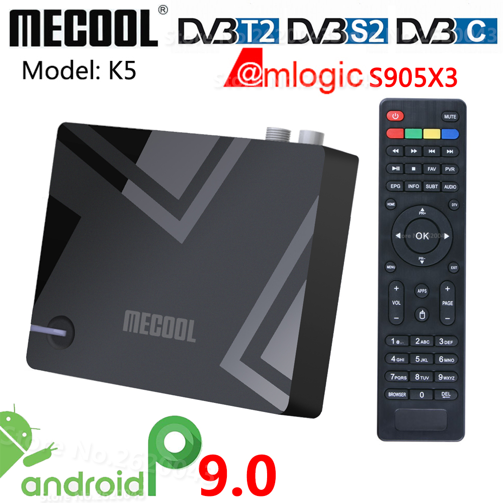 Mecool K5 Amlogic S905X3 Smart Android 9 0 TV Box DVB-S2 DVB-T2 DVB-C 2GB RAM 16GB ROM 2 4G 5G WiFi Bluetooth 4K HD Set top Box
