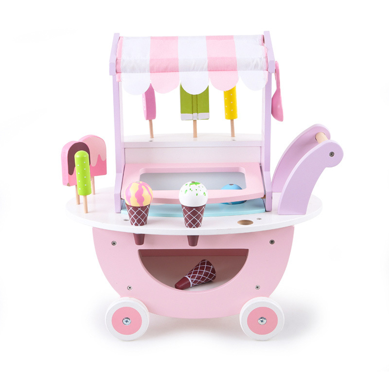 Children's Wooden Ice Cream Selling Cart Toy Boys and Girls Experience Play House Simulation Tool Toy Ice Cream Cart for Kids