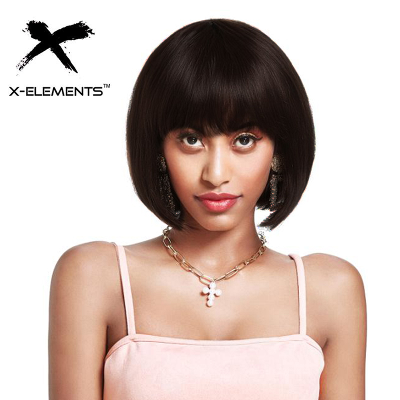 X-Elements Short Straight Black Bob Human Hair Wigs Brazilian Remy Human Hair Wigs For Women 10inches H.BRZANICE