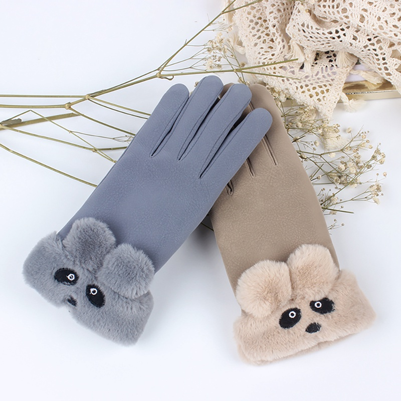 Autumn Winter Women Gloves Plus Velvet Cute Bear Furry Mittens Touch Screen Suede Mitts Female Cold Protection Gloves