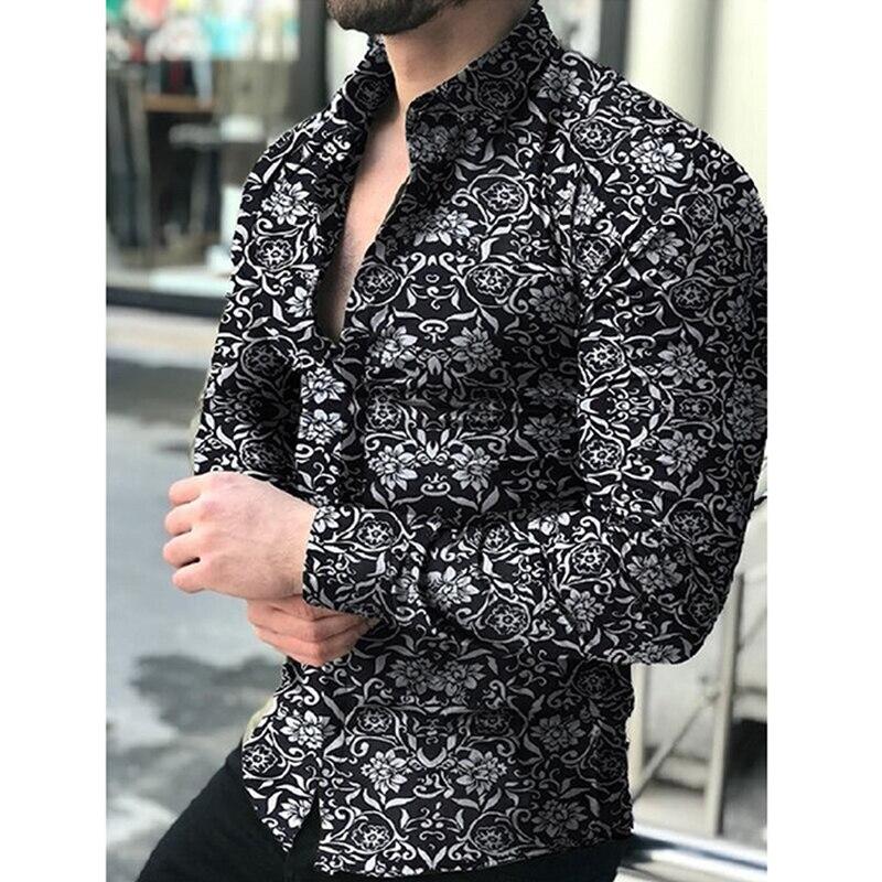 Fashion Shirts For Men Long Sleeve Floral Print Turn Down Collar Shirt Autumn Shirts Men Dress Button Lapels Collar Male