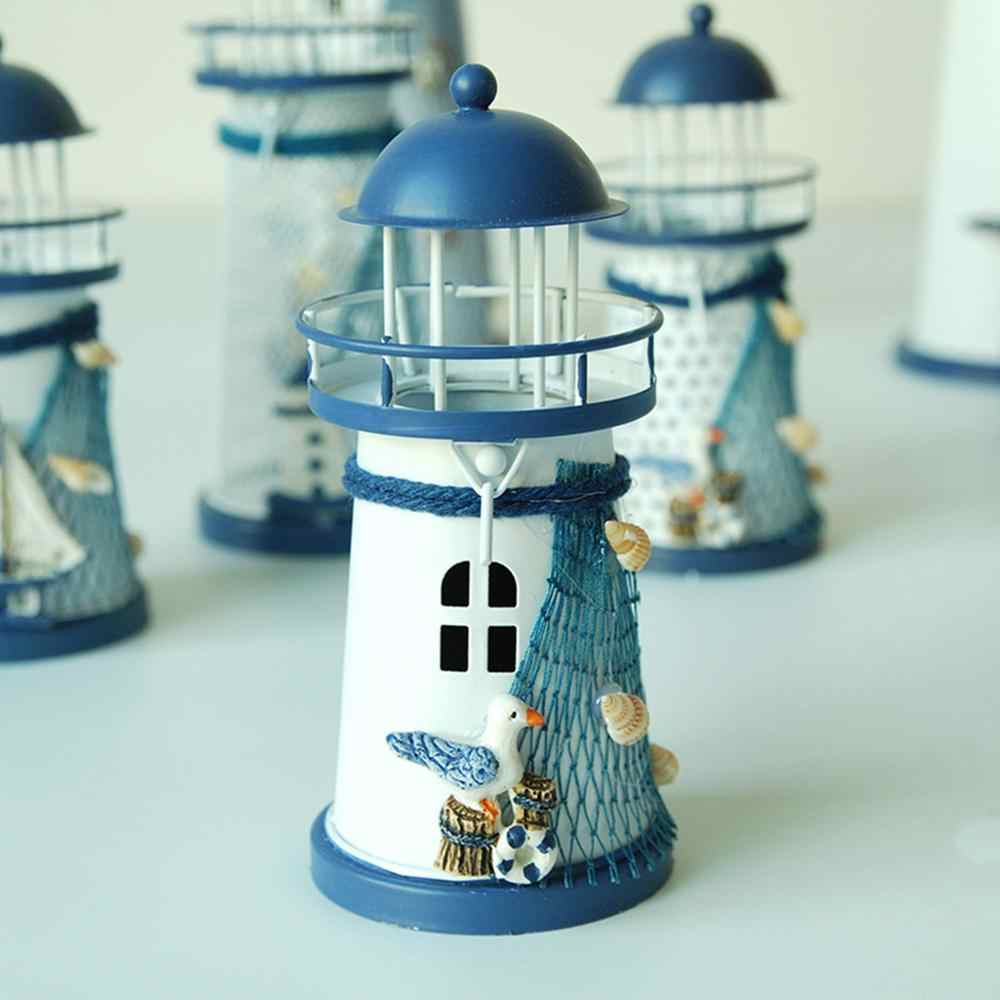 Mediterranean style iron lighthouse decoration tinsel household ornament Creative 15CM Iron Lighthouse Candlestick home decor CD