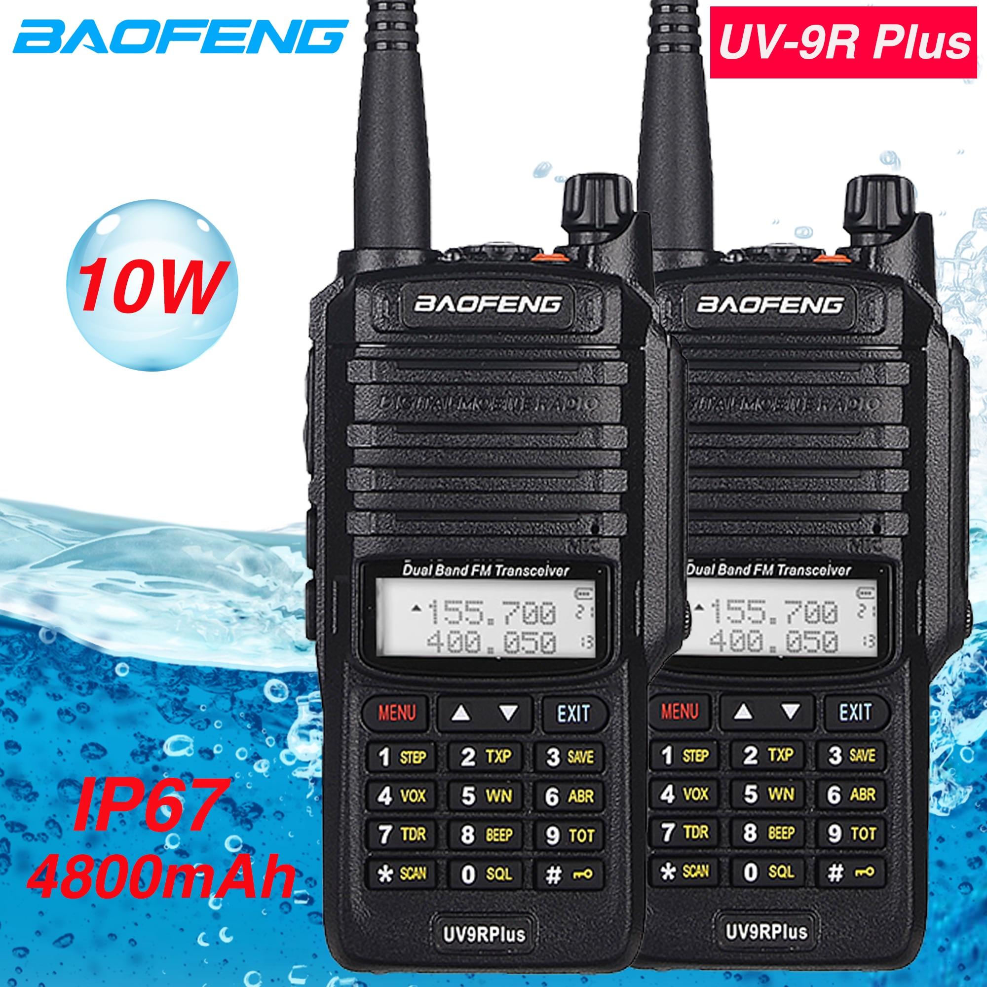 Waterproof 10W Baofeng Uv-9r Plus Walkie Talkie Two Way Radio 10KM Dual Band Portable CB Ham Radio 4800 MAh UV9R Professional