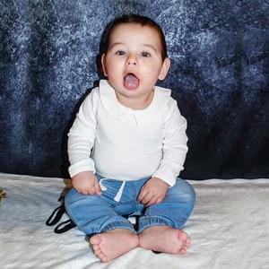 Image 2 - Pureborn Newborn Baby Bodysuit Solid Basic Baby Onesies Long Sleeve Jumpsuit Peter pan Collar Cotton Baptism Onesies Playsuit