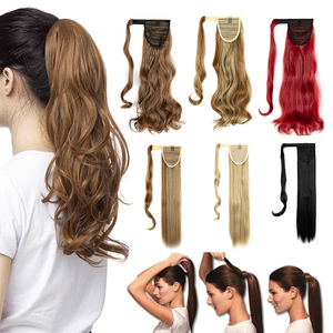 Clip In Ponytail Extension Wrap Around for Women Wavy Curly Hair Fluffy Pony Tail 18,24 Inch,Synthetic Clip In Hair Extension