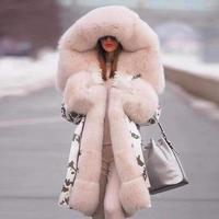 Брендовое Новое Стильное зимнее пальто с большим шерстяным воротником, женская одежда, теплое толстое Свободное пальто, повседневная куртк...