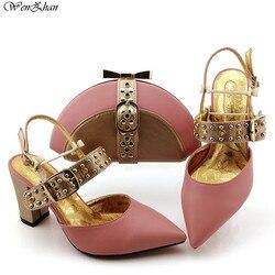 Heißesten Herbst Hochzeit Große Ferse Schuhe Mit Kupplung Tasche Spiel Sets Afrikanischen Frauen Schuhe und Tasche Verkaufen Zusammen 38- 43 WENZHAN B99-10